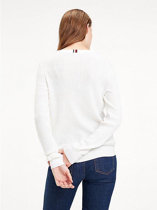TOMMY HILFIGER Essential Vertical Knit Jumper - SNOW WHITE - TOMMY HILFIGER Jumpers - detail image 1