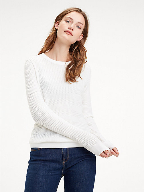 TOMMY HILFIGER Essential Vertical Knit Jumper - SNOW WHITE - TOMMY HILFIGER Jumpers - main image