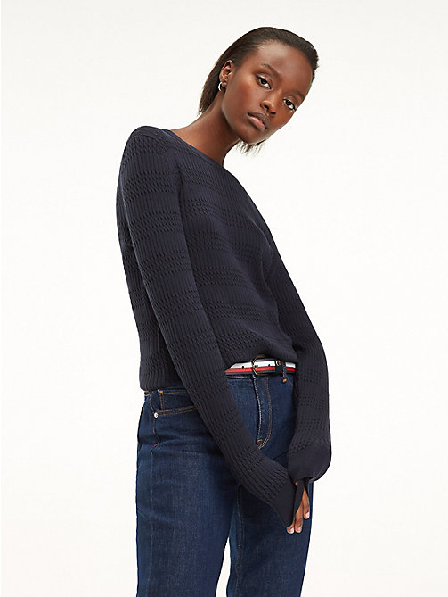 TOMMY HILFIGER Essential Vertical Knit Jumper - SKY CAPTAIN - TOMMY HILFIGER Jumpers - main image