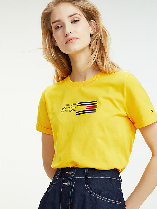 TOMMY HILFIGER Essential Flag Print T-Shirt - SPECTRA YELLOW - TOMMY HILFIGER Sustainable Evolution - main image