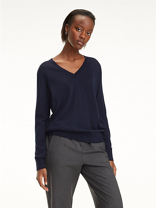 TOMMY HILFIGER Essential Merino Wool V-Neck Jumper - SKY CAPTAIN - TOMMY HILFIGER Jumpers - main image
