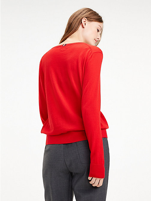 TOMMY HILFIGER Essential Merino Wool V-Neck Jumper - TRUE RED - TOMMY HILFIGER Jumpers - detail image 1