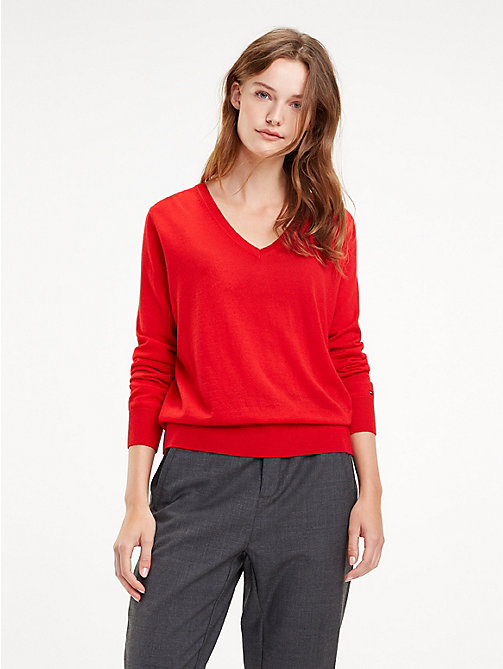 TOMMY HILFIGER Essential Merino Wool V-Neck Jumper - TRUE RED - TOMMY HILFIGER Jumpers - main image