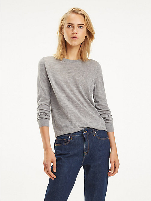 TOMMY HILFIGER Essential Merino Wool Jumper - MEDIUM GREY HTR - TOMMY HILFIGER Jumpers - main image