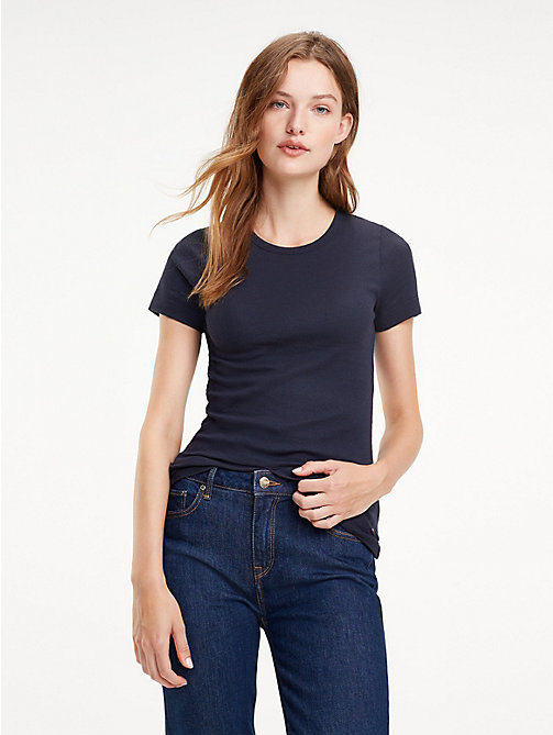 TOMMY HILFIGER Essential Slim Ribbed T-Shirt - MIDNIGHT - TOMMY HILFIGER T-Shirts - main image