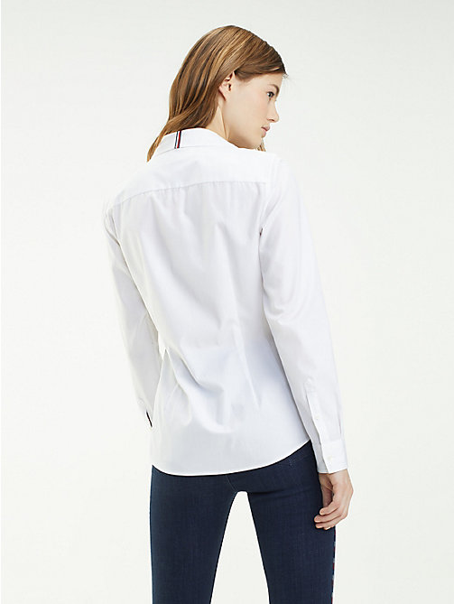 TOMMY HILFIGER Essential Organic Cotton Shirt - CLASSIC WHITE - TOMMY HILFIGER Sustainable Evolution - detail image 1