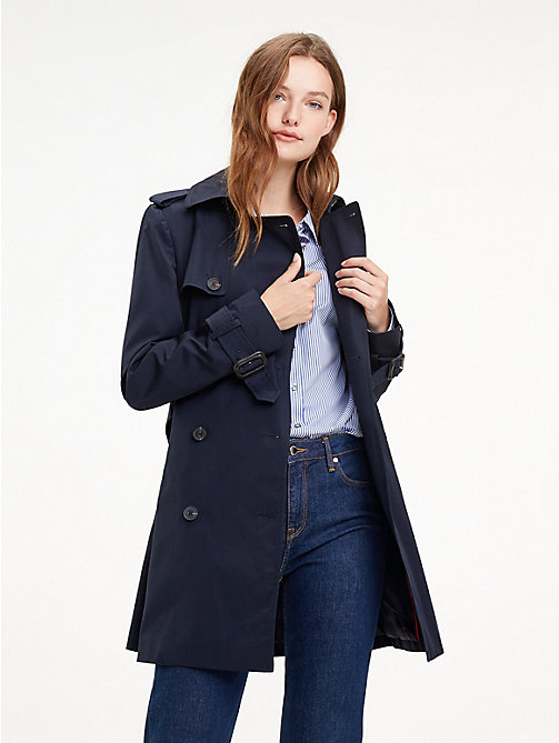 TOMMY HILFIGER Essential Double Breasted Trench Coat - MIDNIGHT - TOMMY HILFIGER Trench Coats - main image