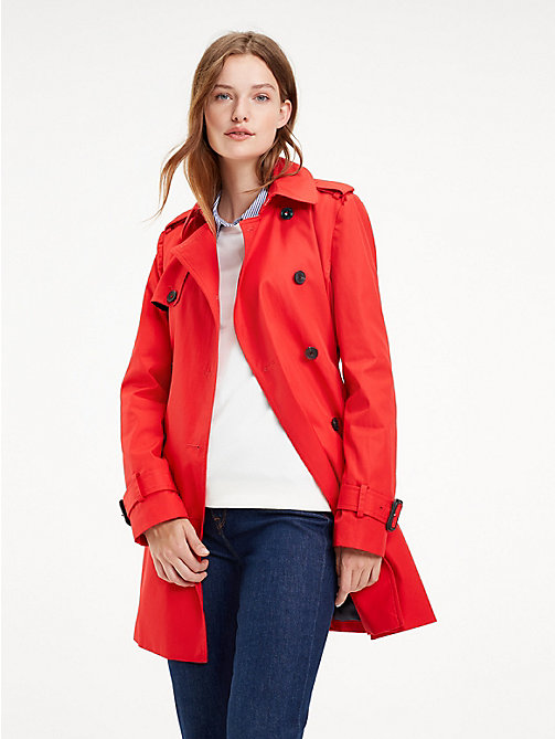 TOMMY HILFIGER Essential Double Breasted Trench Coat - TRUE RED - TOMMY HILFIGER NEW IN - main image