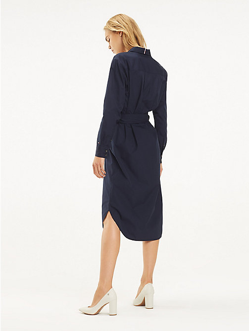 TOMMY HILFIGER Essential Midi Shirt Dress - MIDNIGHT - TOMMY HILFIGER Sustainable Evolution - detail image 1