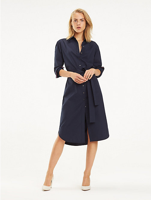 TOMMY HILFIGER Essential Midi Shirt Dress - MIDNIGHT - TOMMY HILFIGER Sustainable Evolution - main image