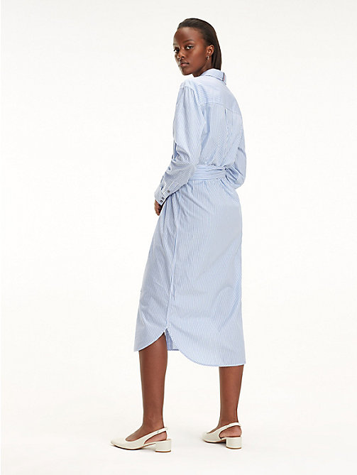 TOMMY HILFIGER Essential Midi Shirt Dress - ITHACA STP / DEEP ULTRAMARINE - TOMMY HILFIGER Sustainable Evolution - detail image 1