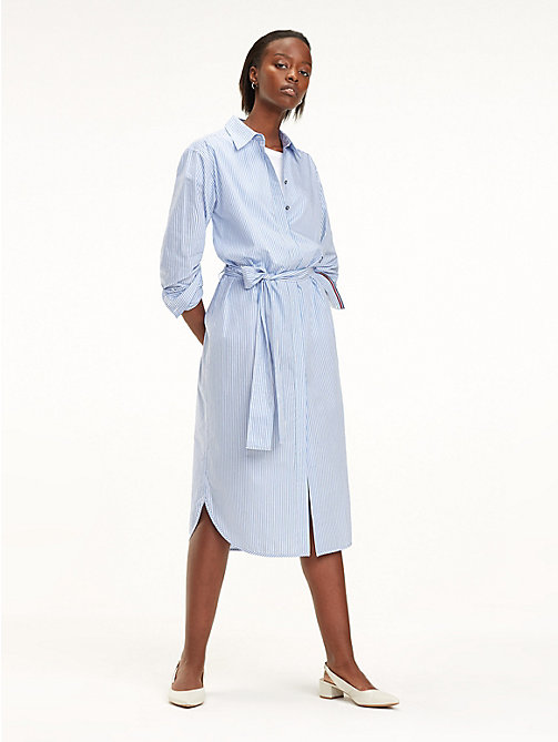 TOMMY HILFIGER Essential Midi Shirt Dress - ITHACA STP / DEEP ULTRAMARINE - TOMMY HILFIGER Sustainable Evolution - main image