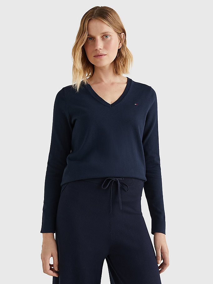 blue heritage v-neck jumper for women tommy hilfiger