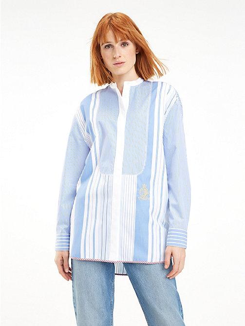 683a32b064f56e blue pasiasta koszula o kroju oversize z patchworkiem dla kobiety - tommy  hilfiger