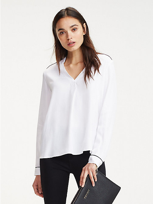 dd2ea4693 white contrast piping viscose blouse for women tommy hilfiger