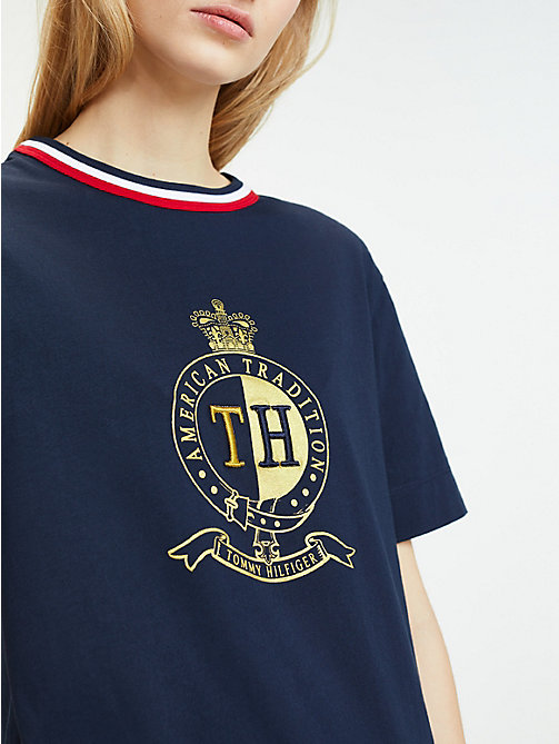 879788bea4b63 blue crest organic cotton t-shirt for women tommy hilfiger