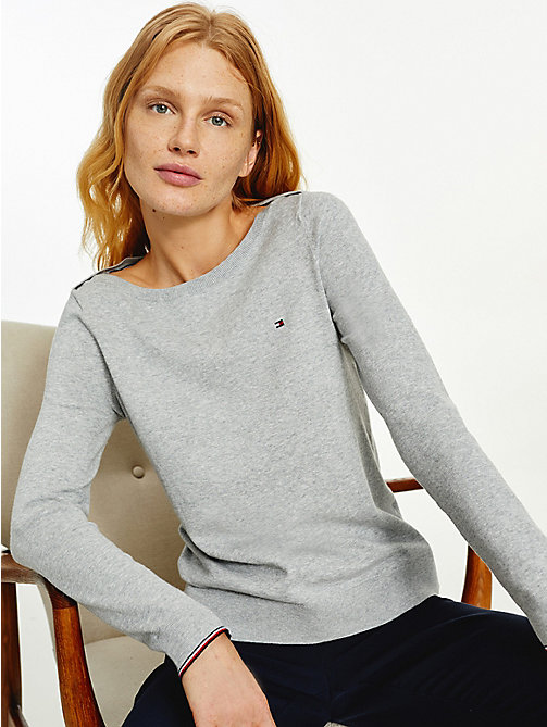 0a3cd9aebc grey pullover mit u-boot-ausschnitt für damen - tommy hilfiger