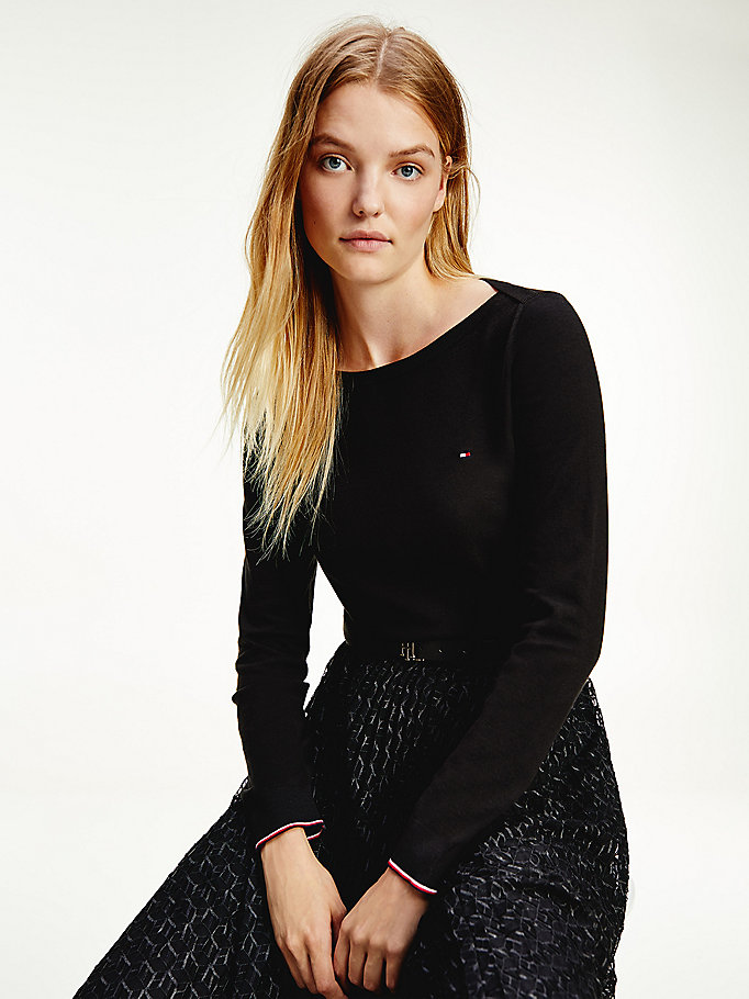 black boat neck jumper for women tommy hilfiger