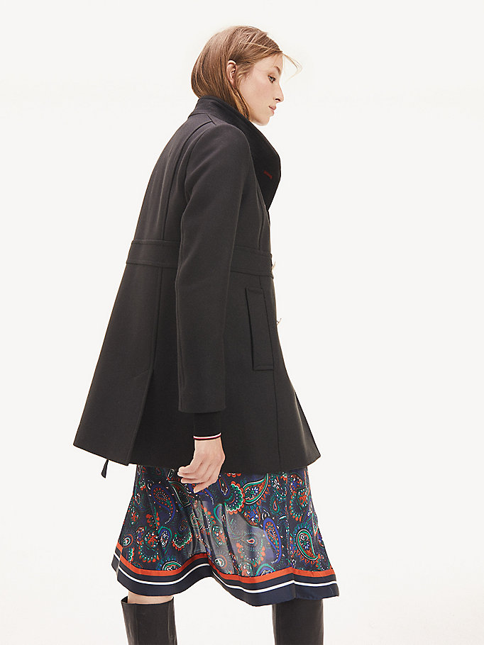 new styles 3fd88 b9918 Mantel aus Woll-Kaschmirmix | SCHWARZ | Tommy Hilfiger