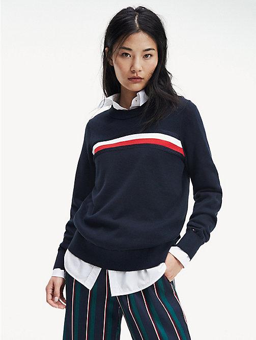 d725b10bb82699 blue essential pullover aus bio-baumwolle für damen - tommy hilfiger