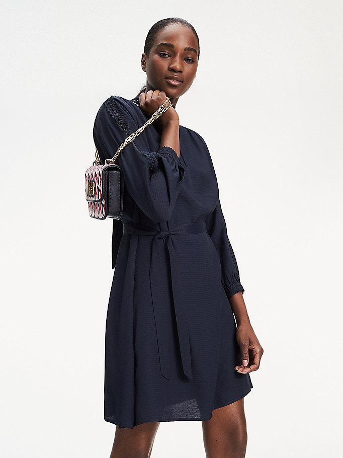 Jacquard jurk met lange mouwen | BLUE | Tommy Hilfiger