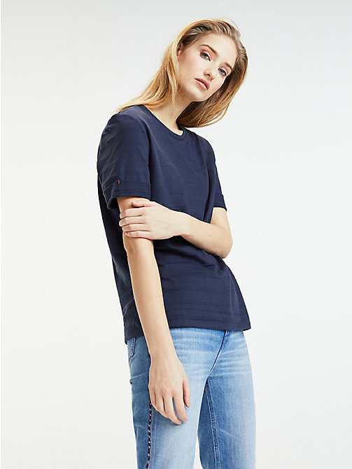 fb971cd9 blue stripe crew neck t-shirt for women tommy hilfiger