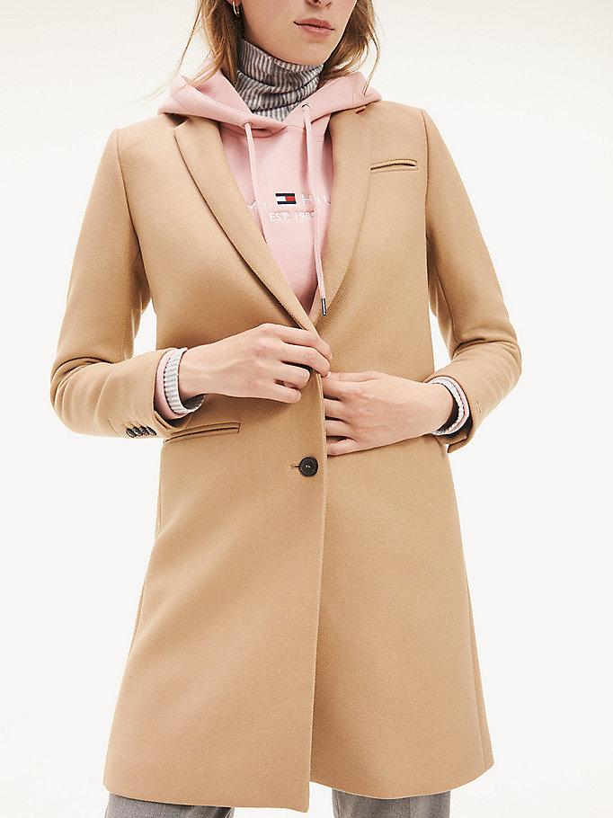 Manteau classique en laine mélangée | ROUGE | Tommy Hilfiger