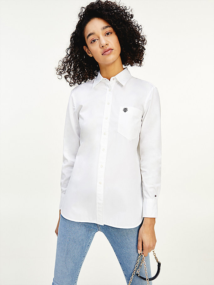 white relaxed fit long sleeve shirt for women tommy hilfiger
