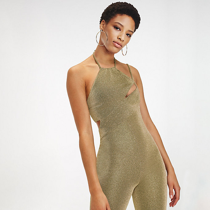 4639dc7ca91 gold zendaya metallic jumpsuit for women tommy hilfiger