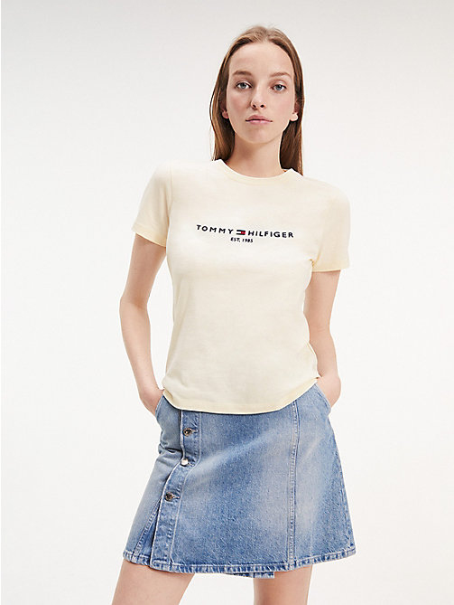 a082cee3 yellow essential organic cotton crew neck t-shirt for women tommy hilfiger