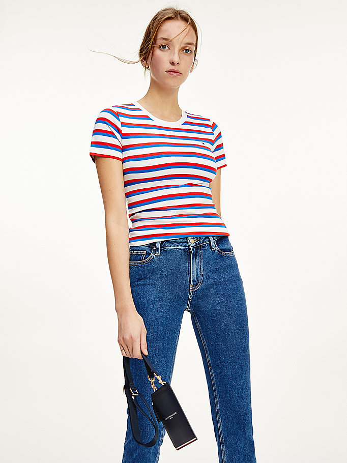 red essentials slim fit t-shirt for women tommy hilfiger