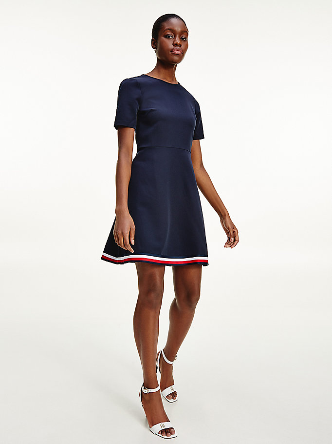 blau fit-and-flare-kleid mit tommy-tape für women - tommy hilfiger