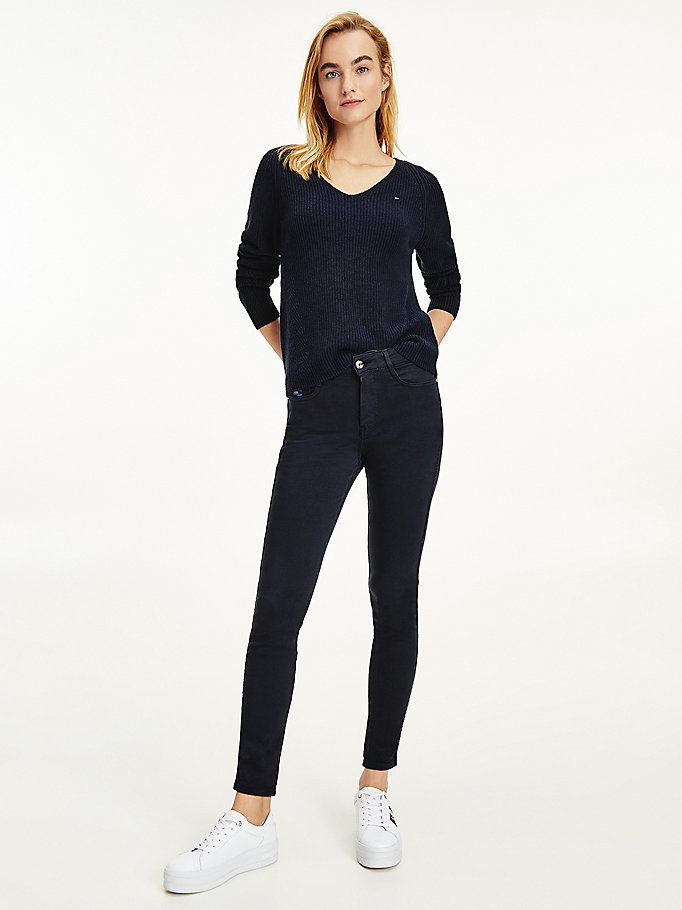 blue organic cotton v-neck jumper for women tommy hilfiger