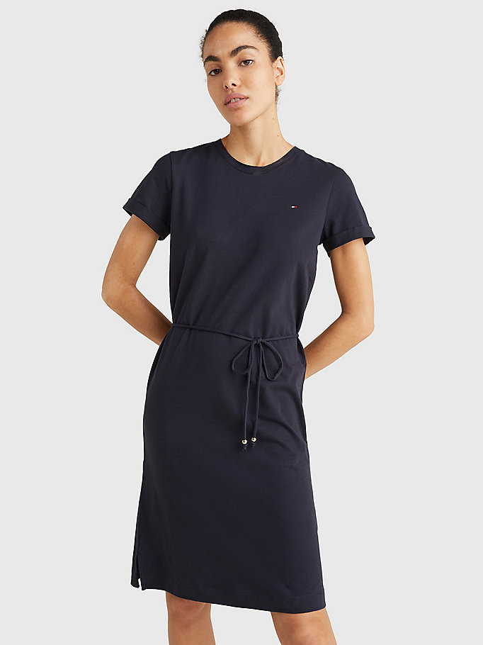 blue cotton drawstring t-shirt dress for women tommy hilfiger