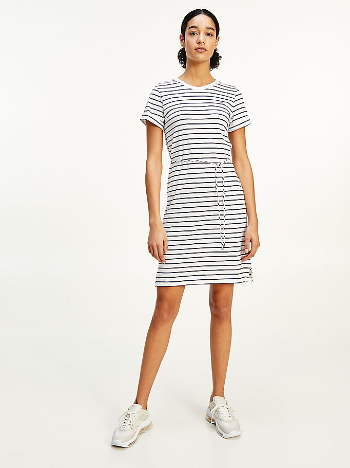 white stripe t-shirt dress for women tommy hilfiger