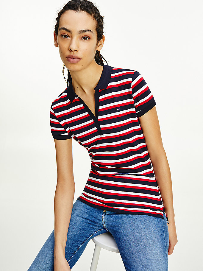 blue stripe slim fit polo for women tommy hilfiger