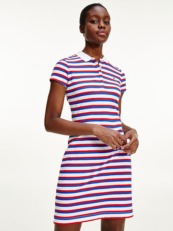 red slim fit stripe polo dress for women tommy hilfiger