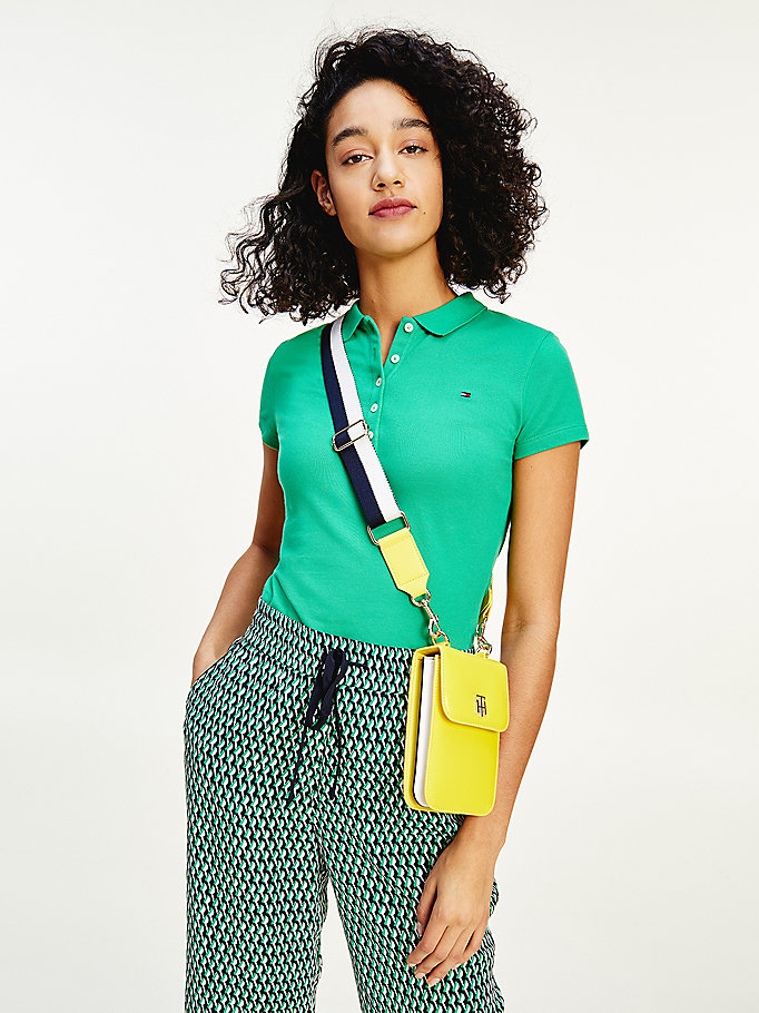 green slim fit stretch cotton polo for women tommy hilfiger