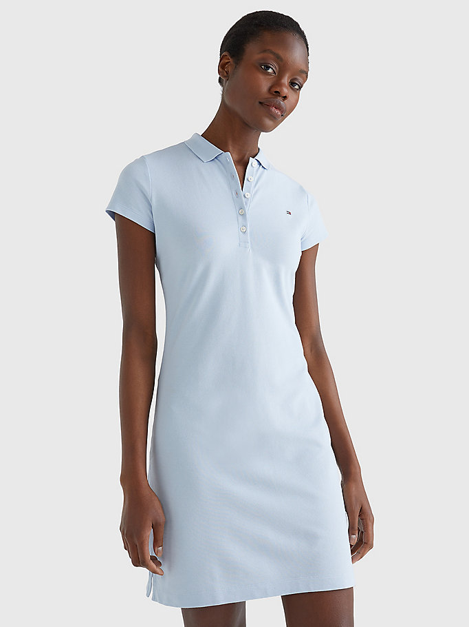 blue slim fit polo dress for women tommy hilfiger