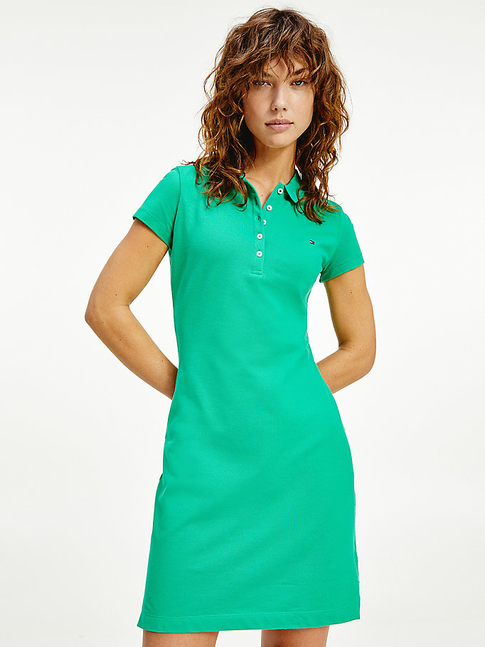 green slim fit polo dress for women tommy hilfiger