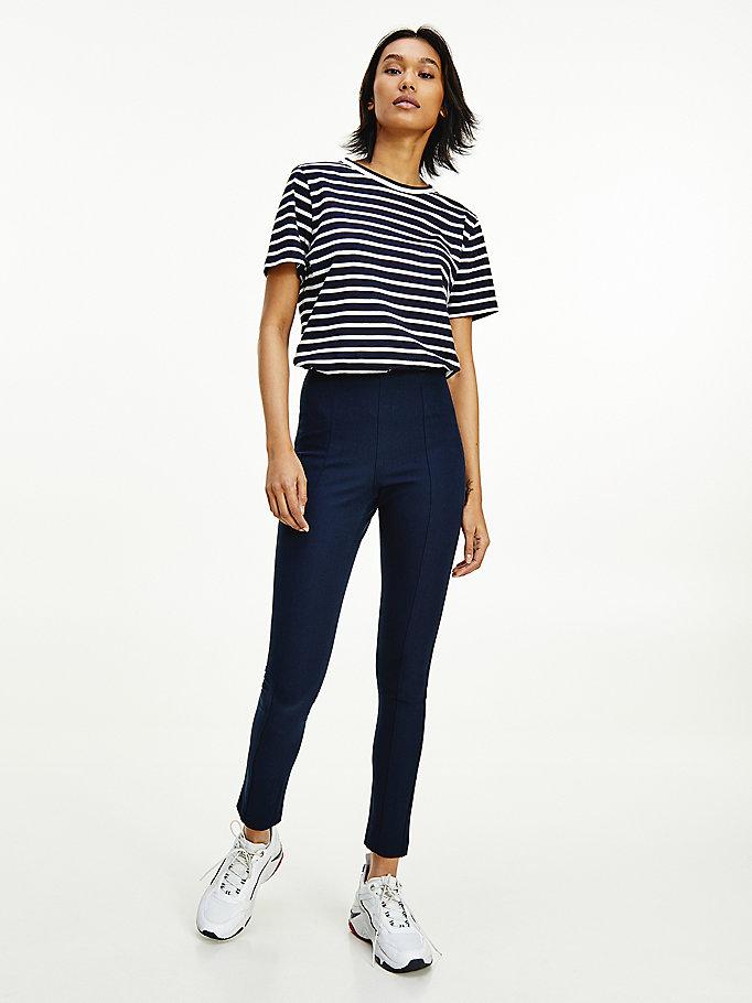 blue essential gabardine ankle length leggings for women tommy hilfiger