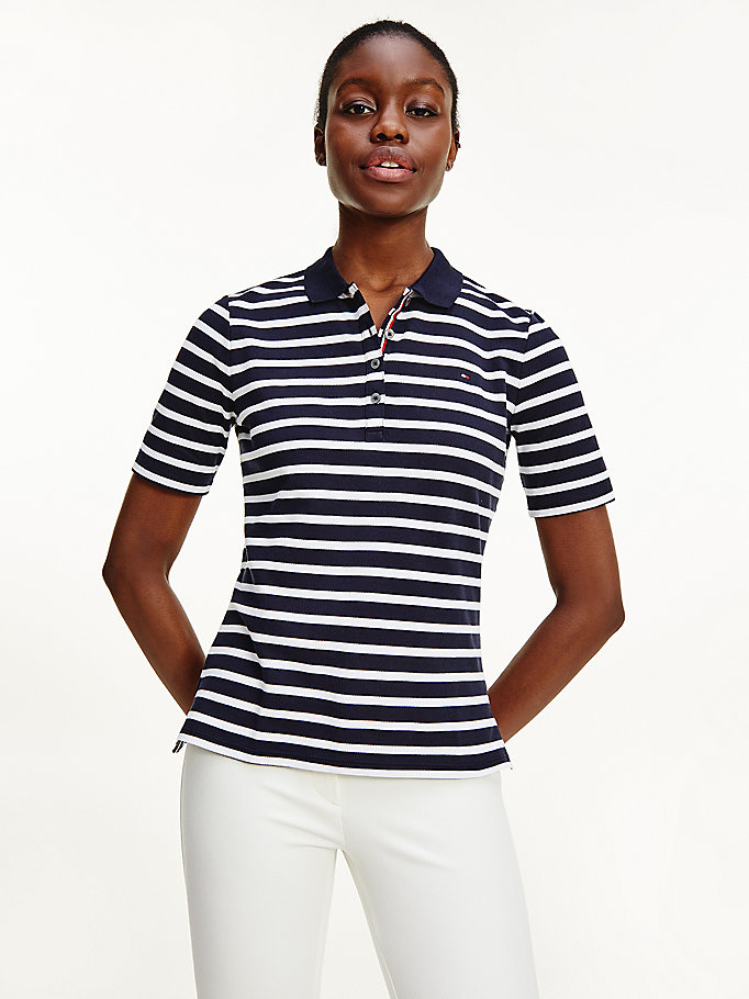 blue essentials stripe polo for women tommy hilfiger