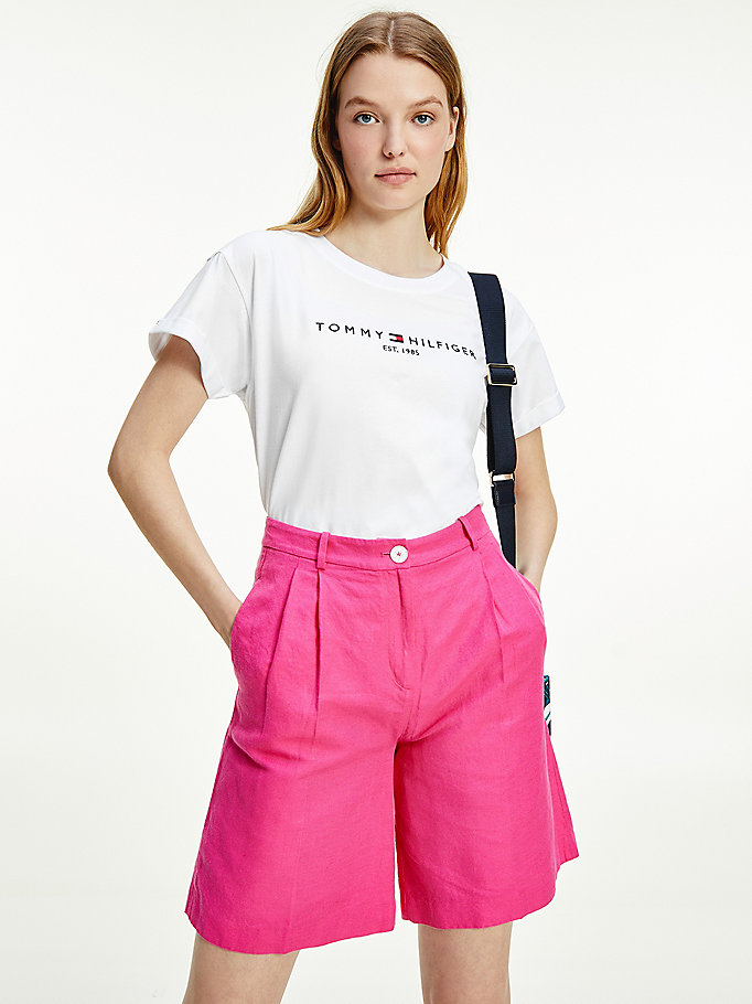 white essentials logo relaxed fit t-shirt for women tommy hilfiger