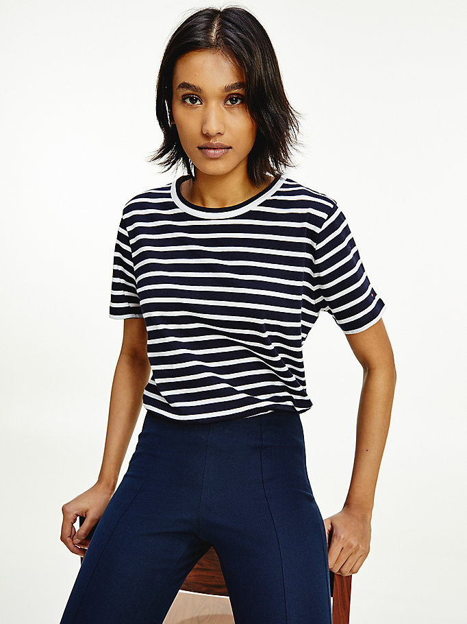 blue th cool organic cotton relaxed t-shirt for women tommy hilfiger