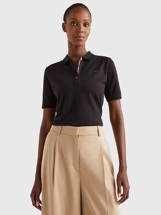 black essential short sleeve polo for women tommy hilfiger