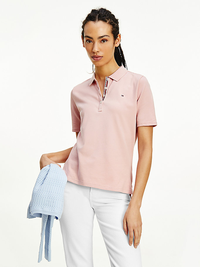 pink essential short sleeve polo for women tommy hilfiger