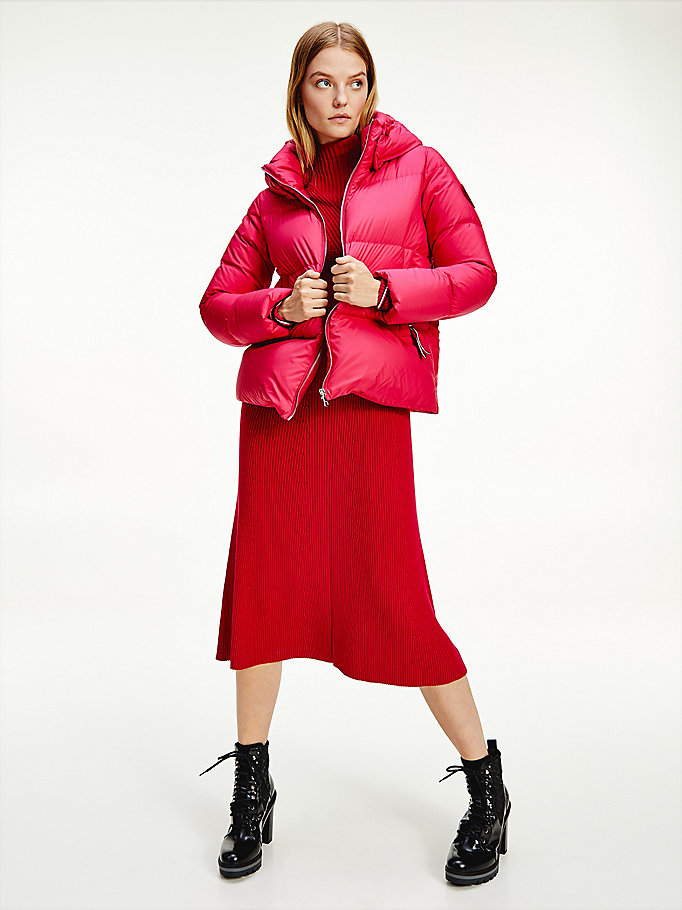 pink down-filled hooded jacket for women tommy hilfiger