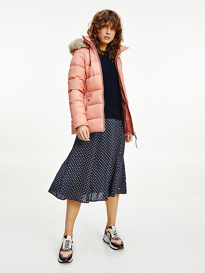 pink baffle down faux fur trim jacket for women tommy hilfiger