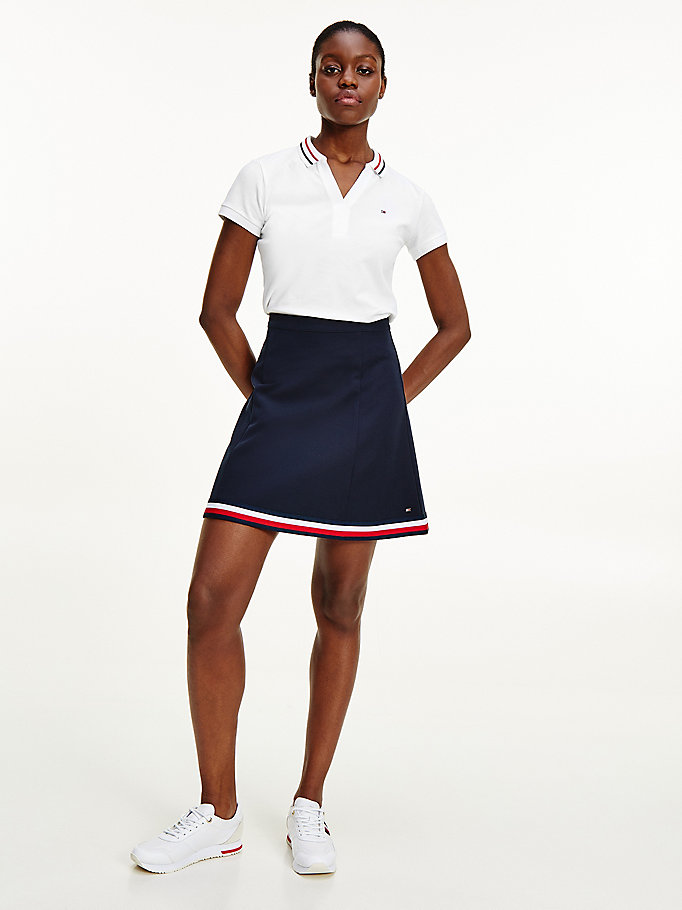 blue signature tape short skirt for women tommy hilfiger