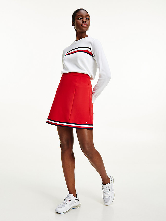 red signature tape short skirt for women tommy hilfiger